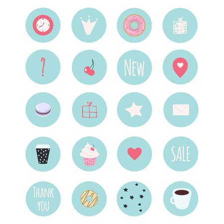 Set of 20 vector icons including sweets for your patisserie business, scrapbooking, bullet journalling