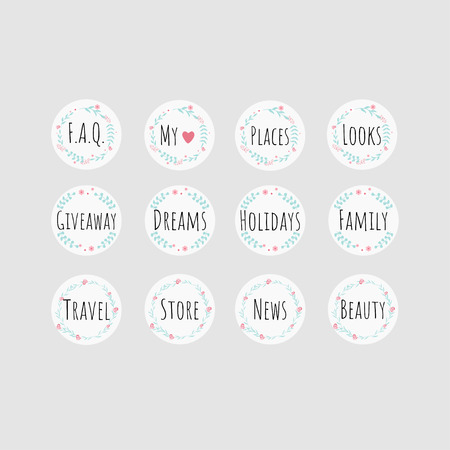 Set of 12 vector icons for your business, network, scrapbooking, bullet journal, etc.