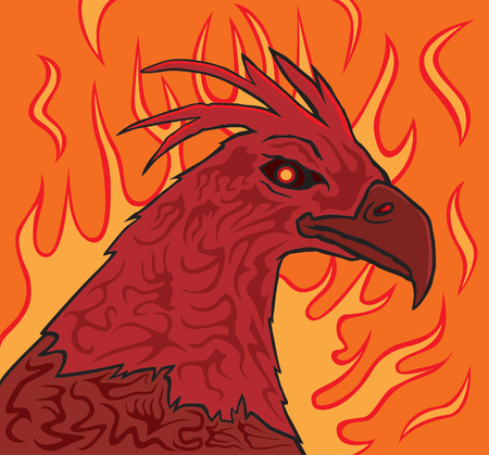 mythical phoenix bird: A Phoenix rises from the flames with tribal tattoos on it.