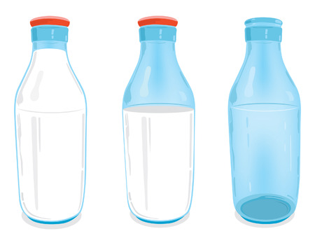 half full: One empty glass milk bottle, one half full glass milk bottle with red bottle cap and one full glass milk bottle with red bottle cap.