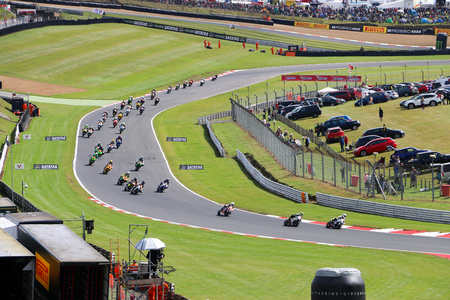 British Superbikes Racing at Brands Hatch - The Whole Group of Riders Racing to Win the British Superbikes Championship