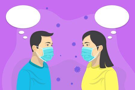 Corona Virus, Corona Virus Disease COVID-19, Novel Coronavirus 2019-nCoV. Illustration concept coronavirus. Virus disease. Men and women having conversations, they use masks to prevent corona virus.