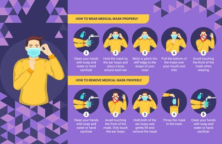 How to wear and remove medical mask properly. Step by step infographic illustration of how to wear and remove a surgical mask. Vetores