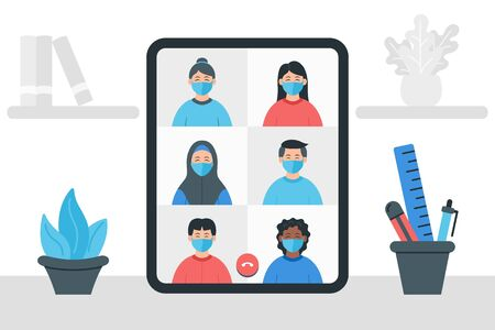 Colleagues talk to each other on the screen. Video conference illustration. Stay and work from home. Online meeting work form home. Stream, web chatting, online meeting friends.
