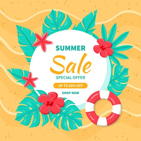 Hello Summer sale background. Beautiful background for summer sale with tropical leaves and flowers in the sand beach.