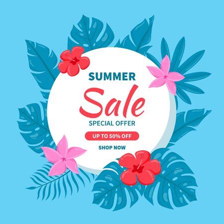 Hello Summer sale background. Beautiful background for summer sale with tropical leaves and flowers.