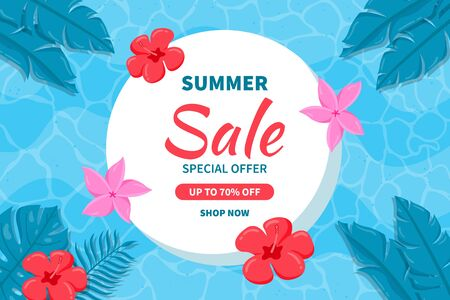 Hello Summer sale background. Beautiful background for summer sale with tropical leaves and flowers in the sea.