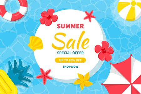 Hello Summer sale background. Beautiful background for summer sale with umbrellas, beach balls, starfish and tropical flowers in the sea.