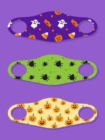 Set of designs face masks with halloween seamless pattern with candy, ghost, spider and pumpkin 矢量图像