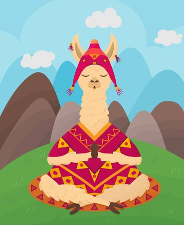 ?ute llama with closed eyes sits and meditates in lotus position against backdrop of mountains and hills. Flat vector illustration Illusztráció
