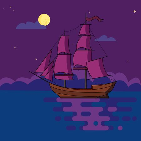 Ship with sails sailing at night in light of full moon under starry sky in calm sea waters. Poster, print, postcard. Vector illustration