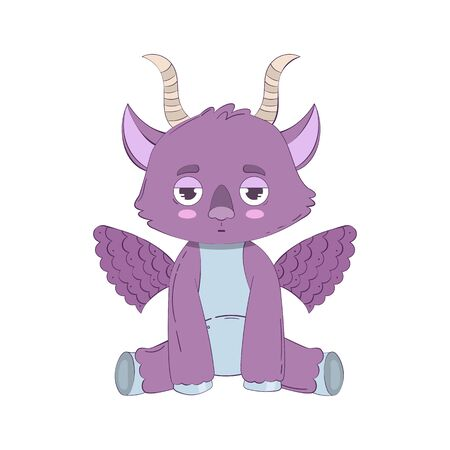 Cartoon purple little monster with wings and horns isolated on white background. Vector illustration