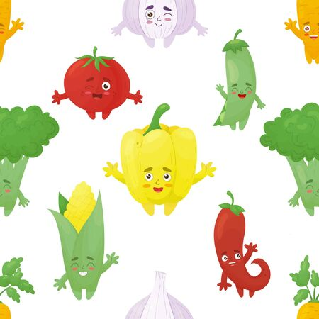 Pattern with funny vegetables. Funny, smiling vegetables: bell pepper, peas, garlic, chili, corn, broccoli, carrot in the kawaii style Illustration