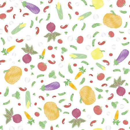 Seamless pattern with vegetables. Pumpkin, garlic, tomato, eggplant, cucumber, corn, peas, beet, carrot, broccoli, bell pepper and chili. Vector illustration