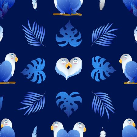 Seamless beautiful pattern with enamored parrots and monstera on navy blue background. Heart shaped lovebirds. Wrap, design, fabric texture, background. Cute vector illustration