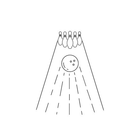 Simple outline icon bowling alley with skittles and ball. Vector illustration