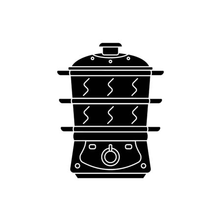 Silhouette simple icon electric food steamer. Vector illustration on white background