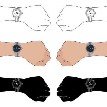 Set of three options for left and right hands with classic man wristwatches: color, outline, silhouette. Collection of six arms with wrist watch. Vector flat illustration