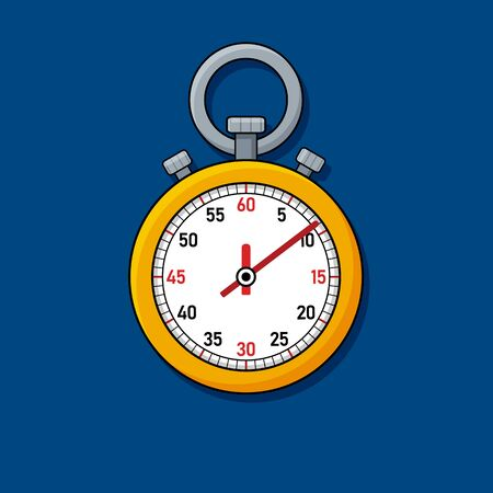 Yellow stopwatch icon for sports on blue background in flat style. Vector illustration