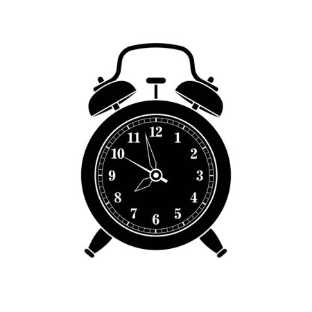 Alarm clock in retro style. Icon analog watch. Symbol of time management, chronometer with hour, minute and second arrow. Simple flat vector illustration 向量圖像