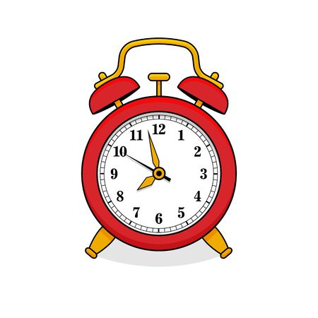 Red alarm clock in retro style. Icon analog watch. Symbol of time management, chronometer with hour, minute and second arrow. Simple flat vector illustration 向量圖像