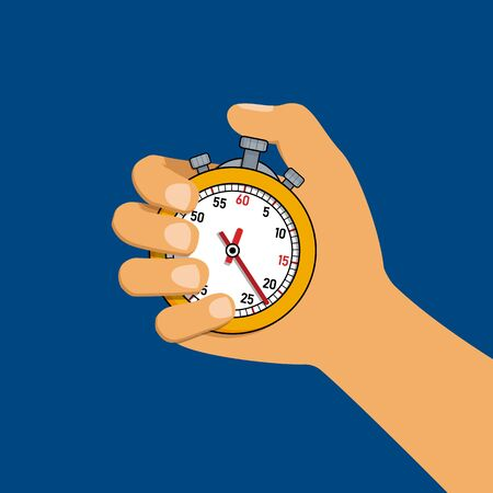 Yellow stopwatch icon for sports in hand on blue background in flat style. Vector illustration
