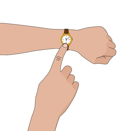 Yellow golden stylish watch with leather strap on hand. Vector flat illustration Illustration