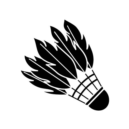 Black shuttlecock made of bird feathers for badminton. sticker, icon. Vector illustration on white background
