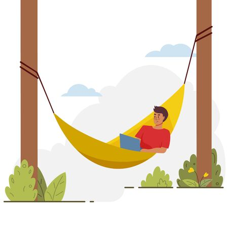 Young man lies with notebook on hammock. Vector flat cartoon concept illustration Ilustração