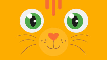 Cartoon red cat with green eyes. Wallpaper with cute character of animal print. Vector illustration Illustration