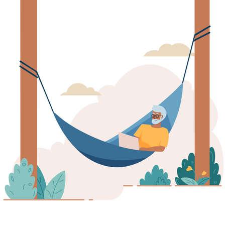 Senior elderly man lies with laptop on hammock. Vector illustration in flat cartoon style