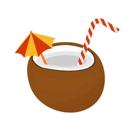 Coconut cocktail with striped straw and umbrella isolated on white background. Vector flat illustration