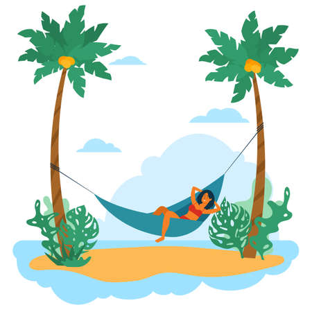 Swarthy young woman is relax in hammock among palm on island. Vector flat cartoon concept illustration
