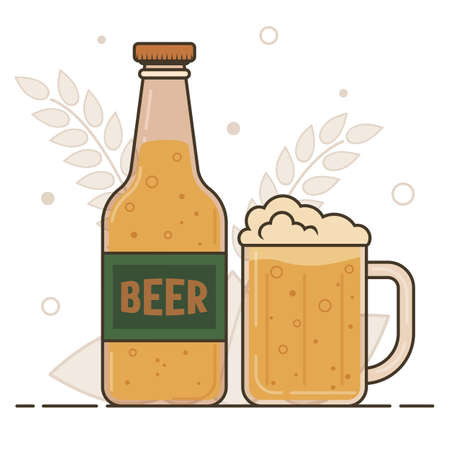 Glass bottle with barley beer and ale mug. Vector flat illustration