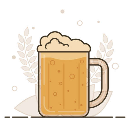 Mug of barley beer. Vector illustration in flat style