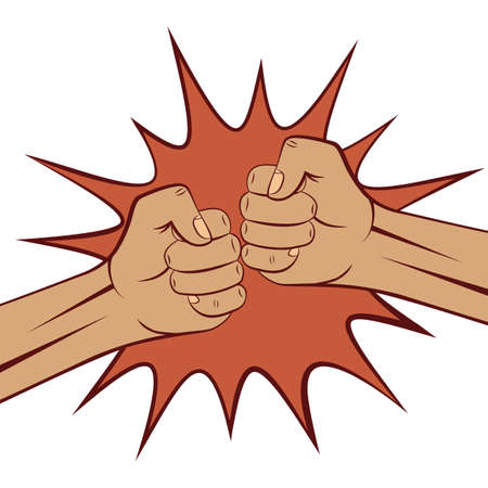 Two clenched male fists bumping together. Boom. Vector illustration