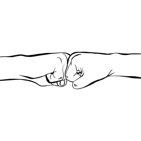Two clenched fists bumping together. Concept of partnership, friendship, team work, passion, spirit. Hand drawn doodle vector illustration isolated on white background Illustration