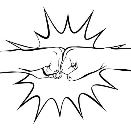 Two clenched fists bumping together. Boom. Concept of partnership, friendship, team work, passion, spirit. Hand drawn doodle vector illustration isolated on white background
