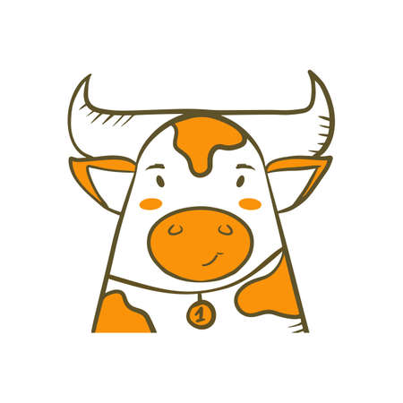 Cartoon avatar of cute bull in hand drawn doodle style on white background. Vector flat illustration