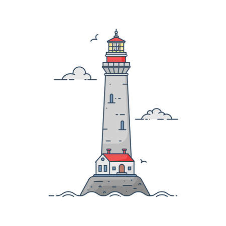 Lighthouse on island in middle of sea with clouds and waves in flat style. Vector illustration of seascape