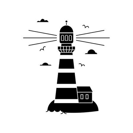 Simple silhouette icon flat icon of sea lighthouse on island with clouds and waves isolated on white background. Vector illustration