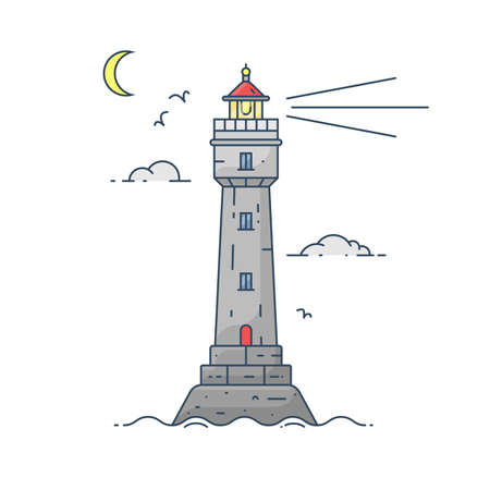 Lighthouse on island in middle of sea by moon light with clouds and seagulls in flat style. Vector illustration of seascape Ilustração