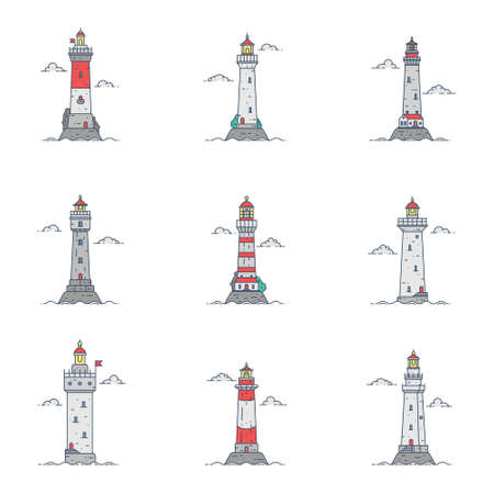 Set of cartoon flat minimalism lighthouses. Vector illustration