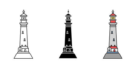 Set of simple flat minimalism lighthouses in three variations. Vector illustration