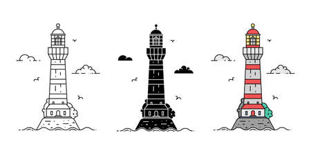 Set of cartoon flat minimalism lighthouses in three variations. Vector illustration Ilustração