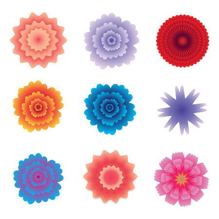 Colorful vector paper flowers set illustration 3d origami abstract colorful vector paper flowers set illustration 3d origami abstract flower icons isolated on white background mightylinksfo