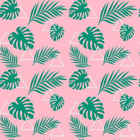 Tropische Grünpalme des exotischen tropischen Dschungels des Musters verlässt mit weißem Dreieck auf dem rosa Hintergrund. Vektor-Illustration. Standard-Bild - 93087118