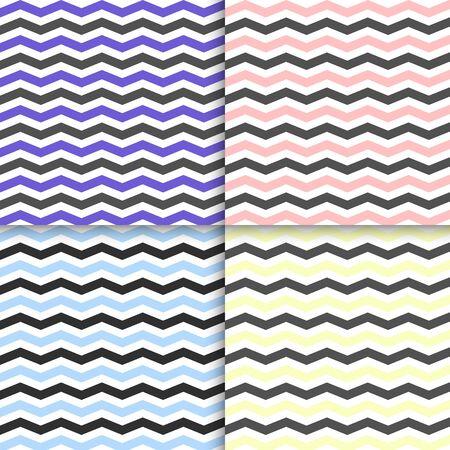 Set Seamless wavy stripes pattern. Zig zag classic colorful vector seamless pattern on background Illustration
