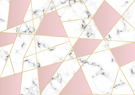 White marble or stone texture with gold lines and triangles geometric forms. Template for your designs, banner, card, flyer, invitation, party, birthday, wedding, baby shower Ilustração
