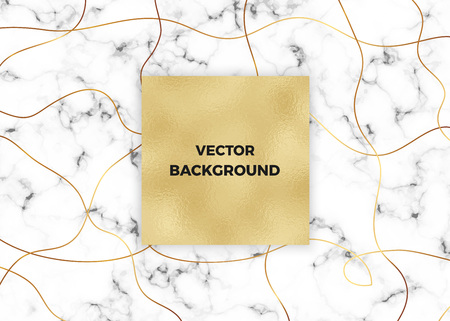 Minimalist white marble with gold lines and foil texture. Luxury cover templates. Cover design for placards, banners, party, birthday, wedding, flyers, presentations and cards